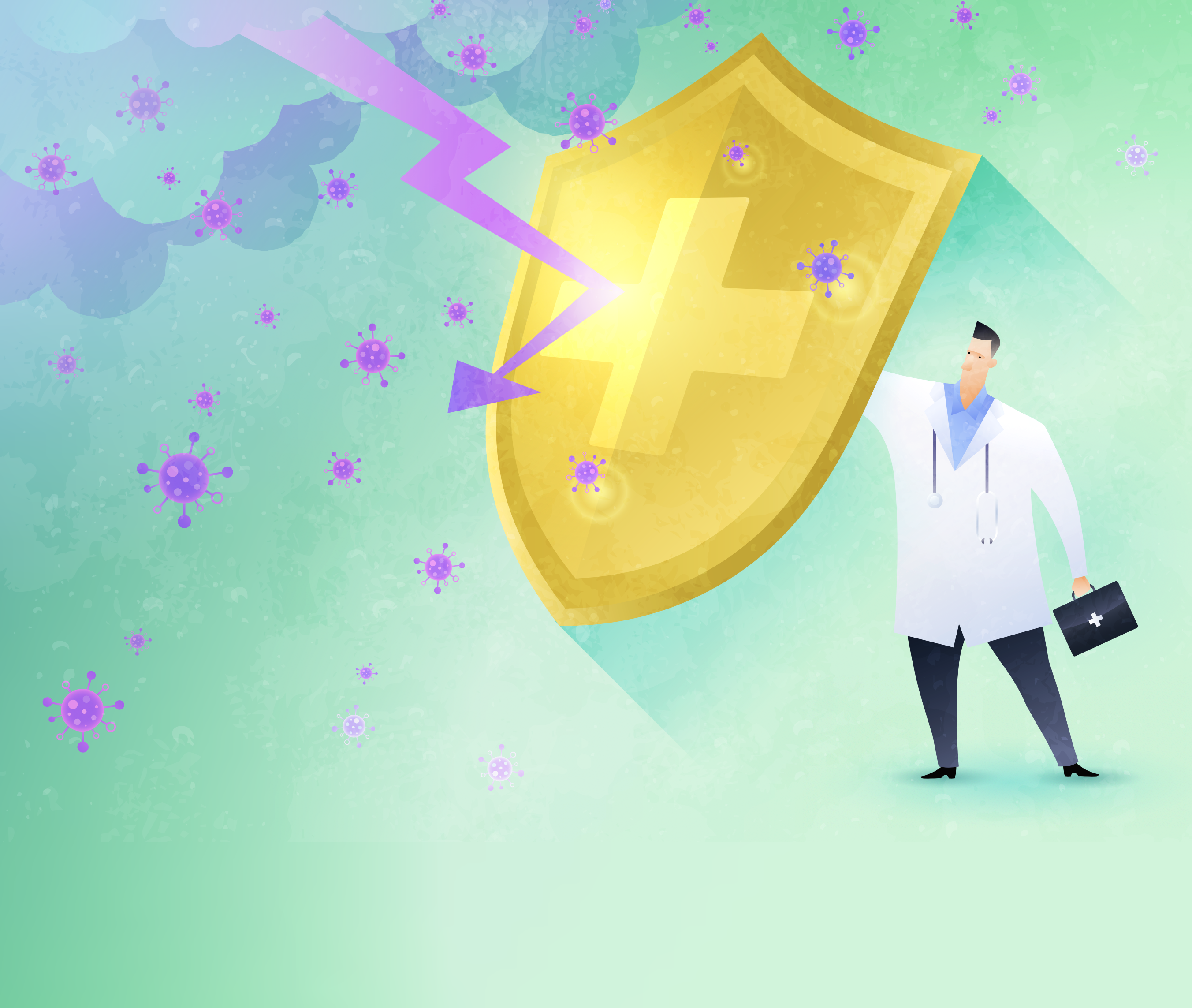Illustration of Doctor Holding shield. Title: Sustaining Healthcare Providers Through the Pandemic