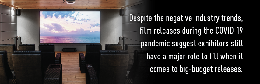 Callout:Despite the negative industry trends, film releases during the COVID-19 pandemic suggest exhibitors still have a major role to fill when it comes to big-budget releases.