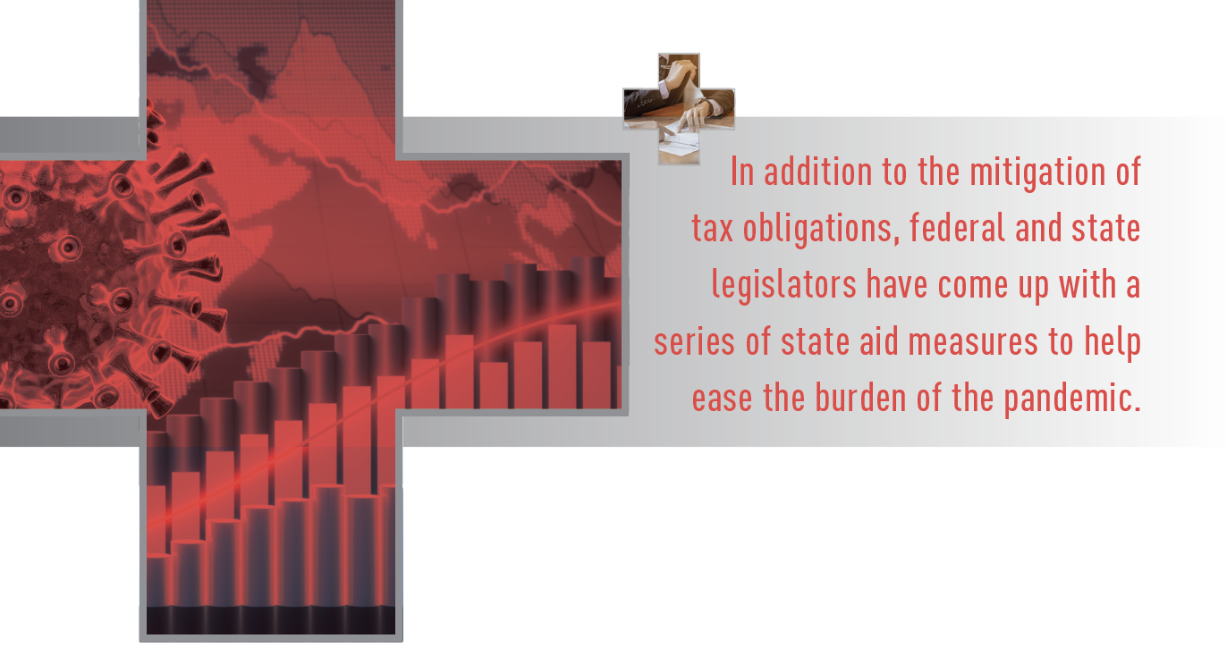 Callout: In addition to the mitigation of tax obligations, federal and state legislators have come up with a series of state aid measures to help ease the burden of the pandemic.