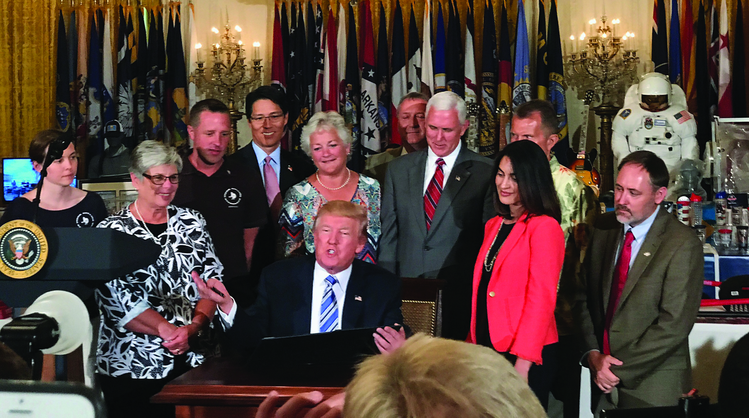 Former TMA Chair Tom Kim, CTP, with President Donald Trump,  Vice President Mike Pence, and others at Made in America Day