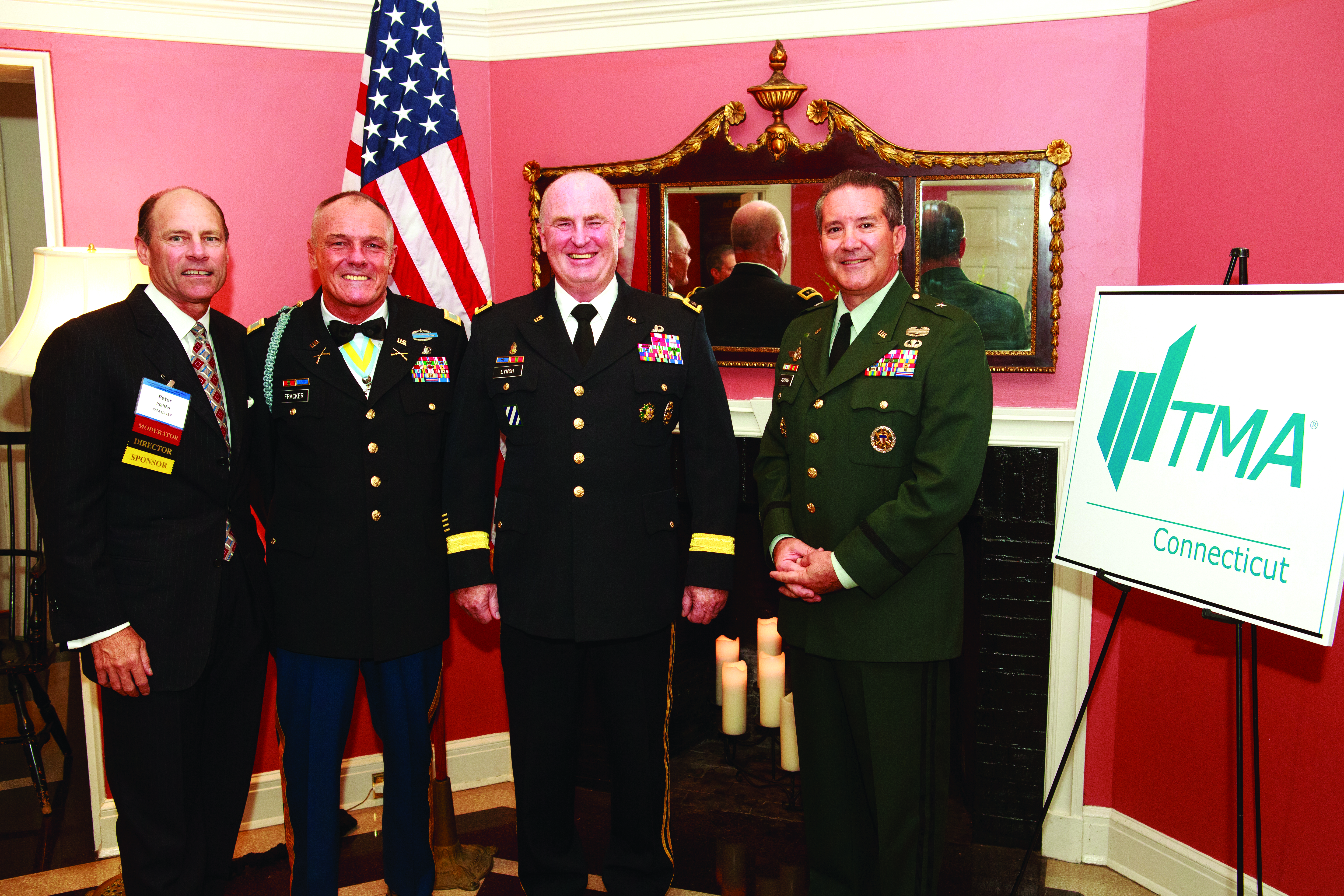 Left to right, Peter A.S. Pfeiffer with retired U.S. Army officers  Col. Al Fracker, Lt. Gen. Rick Lynch, and Brig. Gen. Ernest C. Audino