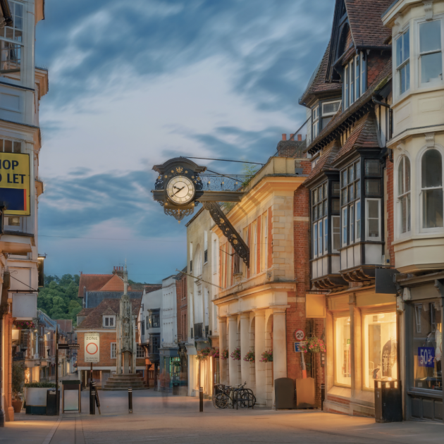 Winchester City centre High Street at night during mid-summer