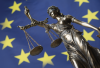 Lady Justice Symbol with the EU flag